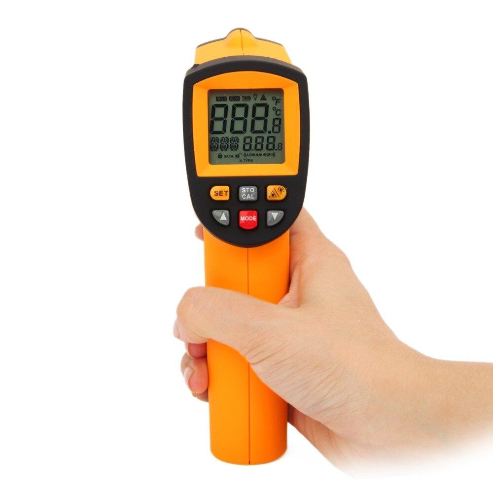 Laser LCD Display IR Infrared Digital Temperature Thermometer -50~900C (-58~1652F) Emissivity 0.10 to 1.00 adjustable  цены