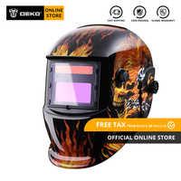 DEKO 2019 New Welding Mask Skull Solar Auto Darkening Adjustable Range 4/9-13 Electric Helmet Welding Lens for Welding Machine