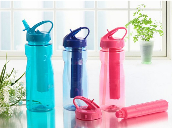 Tritan BPA free plastic sports cup water bottles  , eco-friendly Ice stick bottle shipping