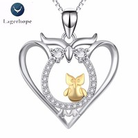 Gift For Mother 925 Sterling Silver Owl Necklace Women Jewelry Pendant Necklace collar mujer Exquisite Birthday Gift