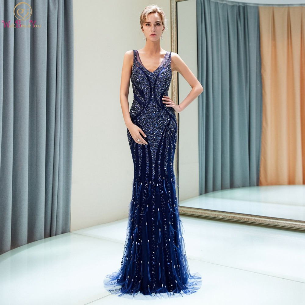 Navy Blue Evening Dresses 2019 Walk Beside You Beaded Crystal Luxury Mermaid Sweep Train Empire Waist