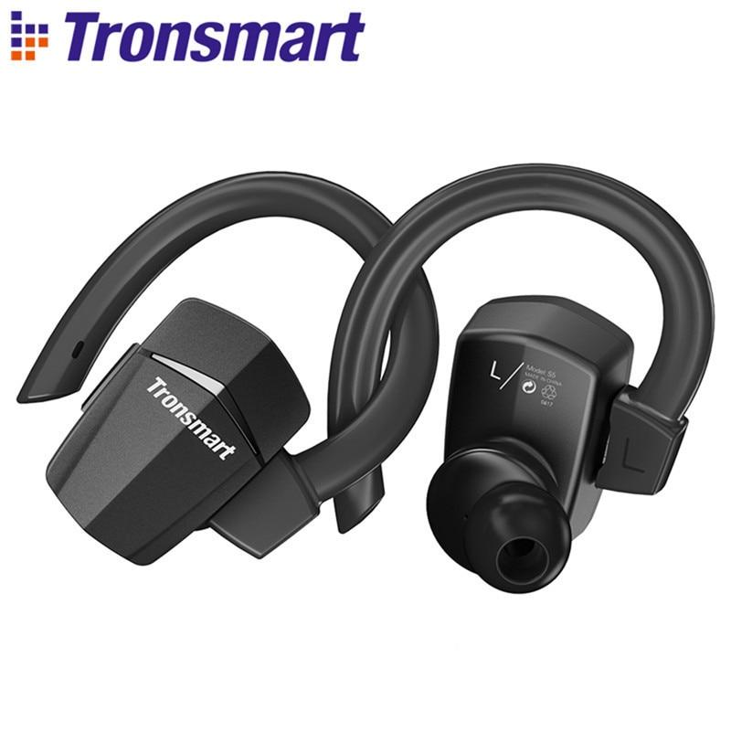 цена Tronsmart Encore S5 Bluetooth Earphone Headphones Passive Noise Cancelling Wireless Earphones Headset IPX4 Waterproof Ear Hook онлайн в 2017 году