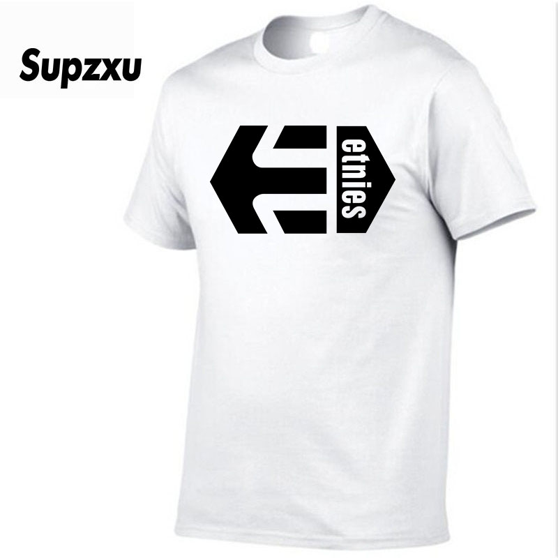 2018 New Solid color Etnies T Shirt Mens Black And White 100% cotton T-shirts Summer Skateboard Tee Boy Skate Tshirt Tops