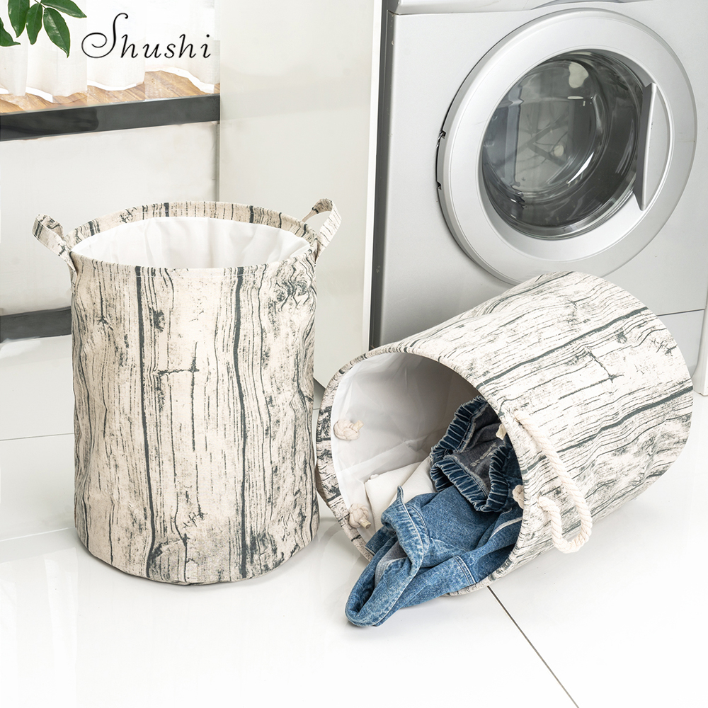 Shushi Cotton Laundry Basket Dirty Cloth Storage Foldable Wood Grain Laundry Bag And Basket Water Proof Laundry Organizer Bag