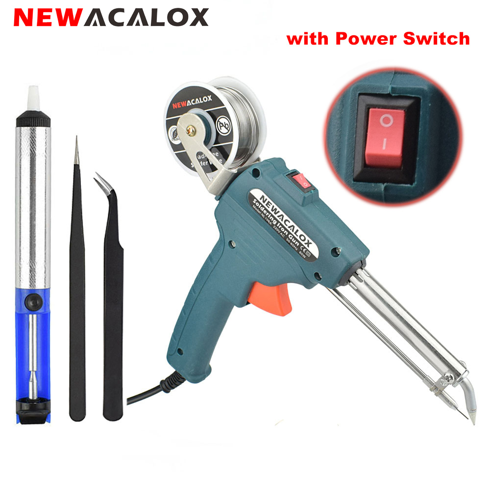 NEWACALOX 60W EU/US Plug Hand-held Soldering Iron Gun Automatically Send Tin Automatic Soldering Machine + Suction Tin Device все цены