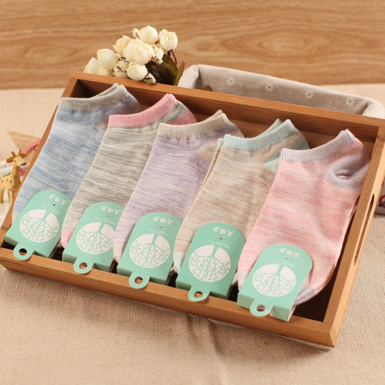10 Pieces= 5 Pairs Summer Fresh And Pure Color Female Ankle Socks Women Pure Cotton Socks,nice Women Socks
