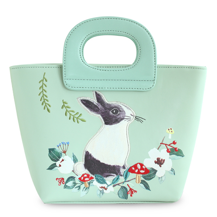 ФОТО Lady Green Rabbit Mori Girl Fashion Mori Hobos Fairy Tale Bags Leather PU For Women's Handbags Messenger Bags Top-HandleTotes