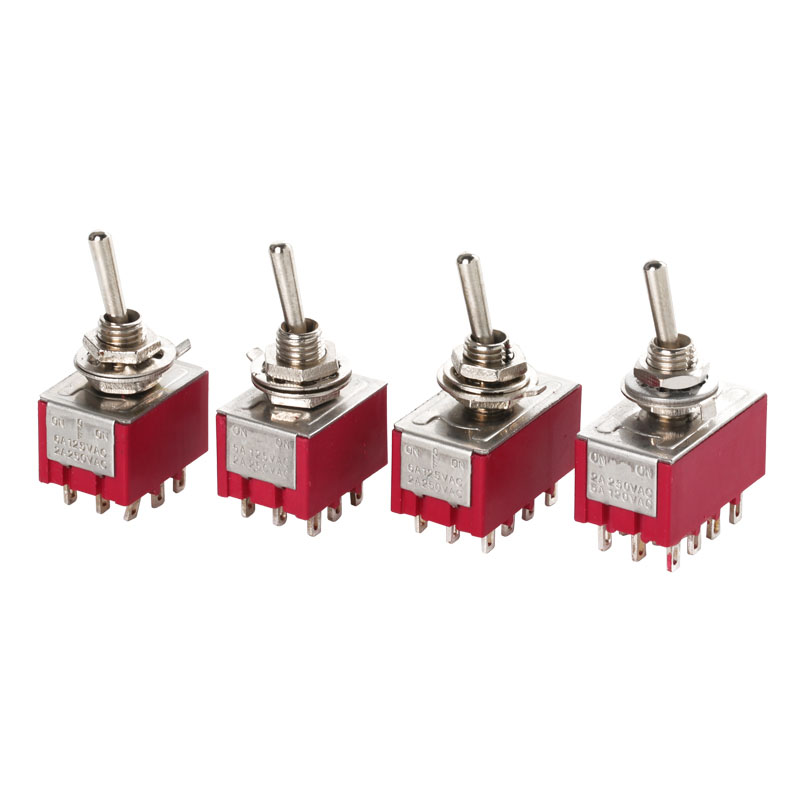 5pcs/lot MTS-403 perforate diameter 6 mm self-lock 12 pin ON - OFF - ON 4PDT 3 positions toggle switch image