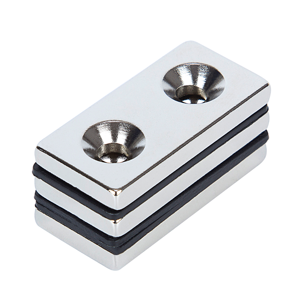 3pcs N52 Strong Cuboid Block Magnet 40 x 20 x 5mm Double Hole 5mm D Countersunk Rare Earth Neodymium Magnets Permanent magnet 10pcs 60x40x5mm super strong neo neodymium magnet 60x40x5 ndfeb magnet 60 40 5mm 60mm x 40mm x 5mm magnets 60mmx40mmx5mm