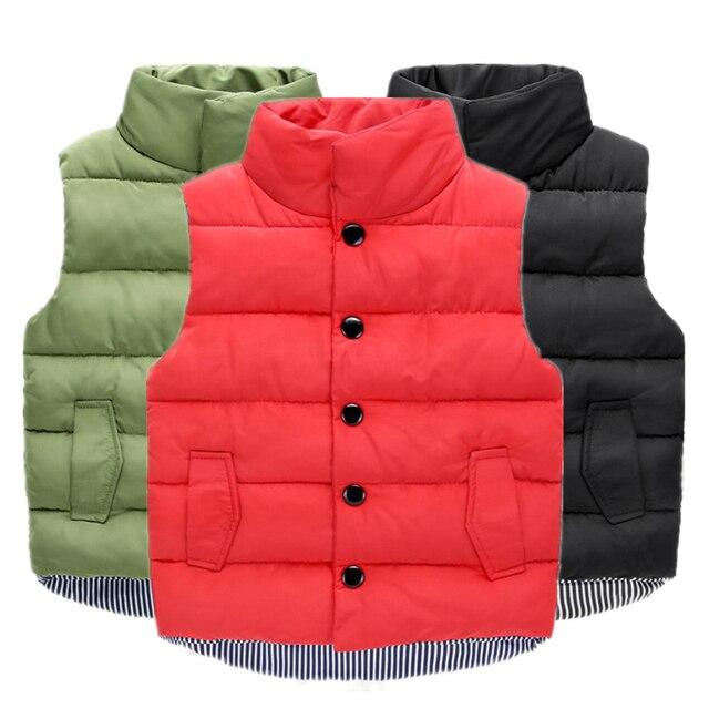 96d17052368 2018 Children Standing Collar Down Cotton Warm Vests Boys Winter Windproof  Vest & Waistcoats Girls Hooded Warm Candy Color Vest