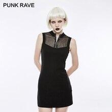 31e1ee2d0 PUNK RAVEwomen Punk Rock Preto Mini Vestido de Malha Gola Sexy Mulheres  Vestido Estilo Gótico Mangas Estiramento Vestidos De Mal.