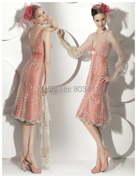 Freeshipping novo comprimento do joelho mãe dos vestidos de noiva com jaqueta de manga hubble - bolha