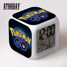 Pokemon Go Alarm Clock Led Light 7 Color Change Horse Desk Watch Relogio De Mesa Wake Up Light Plastic Digital Vintage(China)