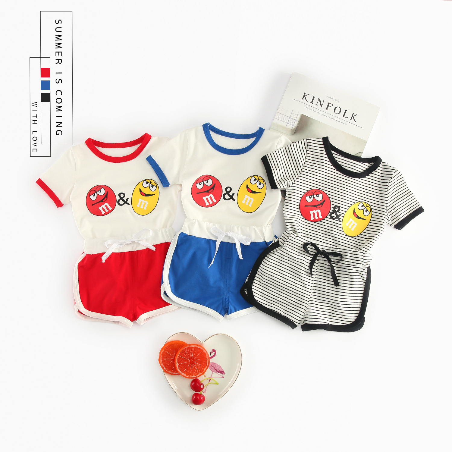 Hot Sale Newborn Clothes Fashion Summer Baby Set Cute Cartoon Girls Boy Clothing Sets Tops +shorts Streetwear Tracksuit