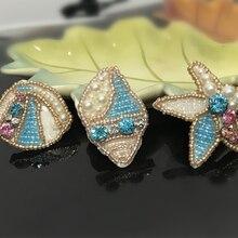 1 шт., 3D нашивки ручной работы с бисером в виде морской раковины для одежды, сумок, шляп, самодельных швов, Морская звезда, стразы, вышивка, Аппликации, раковины