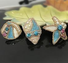 1pc 3D sea shell beaded patches sew on DIY starfish rhinestone applique 3.5*4cm conch parch for clothing