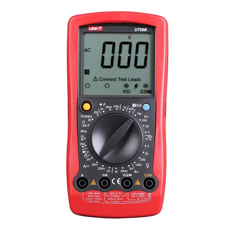 все цены на UT58B Digital Multimeter Ammeter Ohm Volt Meter Capacitance Temperature Digital Universal Meter LCD Count 1999 AVO Meter UNI-T онлайн