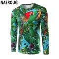 Hombres Bosque Loro Impresión 3D Camiseta Inconformista Moda Camisa de Manga Larga Top Natural Paisaje de Primavera de Impresión Digital Camiseta