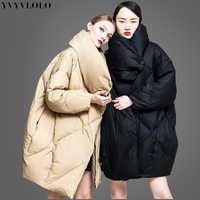YVYVLOLO European high collar design women's winter jacket 2019 New Listing Parkas female winter coat Fashion Loose winter coat