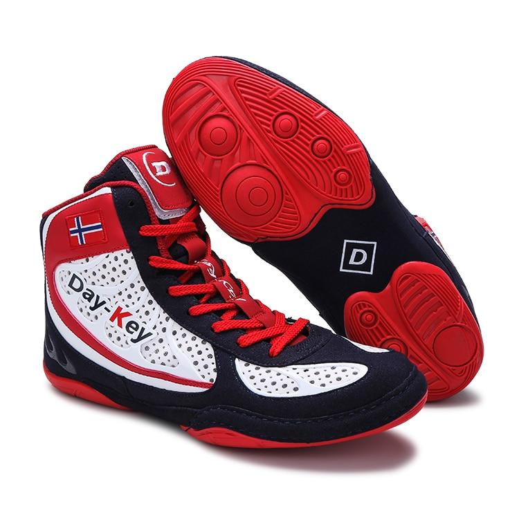 Korea Weiß Blau Rot Männer Frauen Boxer Boxing Stiefel Wrestling Training Schuhe Sport Wushu Sanda Gym Unisex Größe 35-45 Standard Siz Noch Nicht VulgäR Sport & Unterhaltung