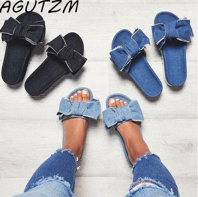 Denim Sandalias Open Casual Slippers On Summer Kont Zapatos 2018 Top In Shoes Agutzm Mujer Butterfly From Women lF1cTKJ