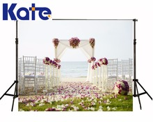 Kate custom made praia estúdio de fotografia de casamento pano de fundo verde meadow pétalas branco cadeira fundos para estúdio de fotografia