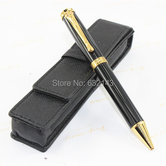 JINHAD 500 Black and gold ballpoint Pen /Black pen bag # + best gifts