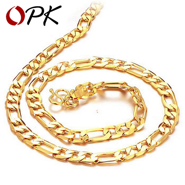 OPK Jewelry  Gold Plated Men's Necklace Classic Figaro Chain GOLD Europe/ African Necklaces, factory price 437