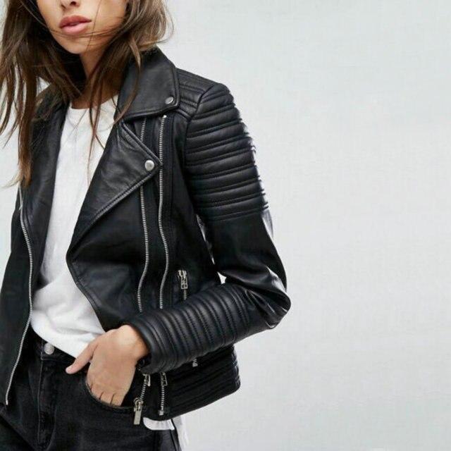 2021 New Fashion Women Motorcycle Faux Leather Jackets Ladies Long Sleeve Autumn Winter Biker Zippers Streetwear Black Coat 1