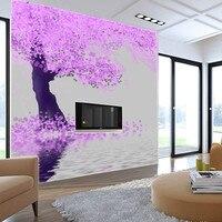 Free Shipping Large Murals Simple Modern Mural Wallpaper Wallpaper Tree Pink Bedroom Warm TV Wall Wallpaper