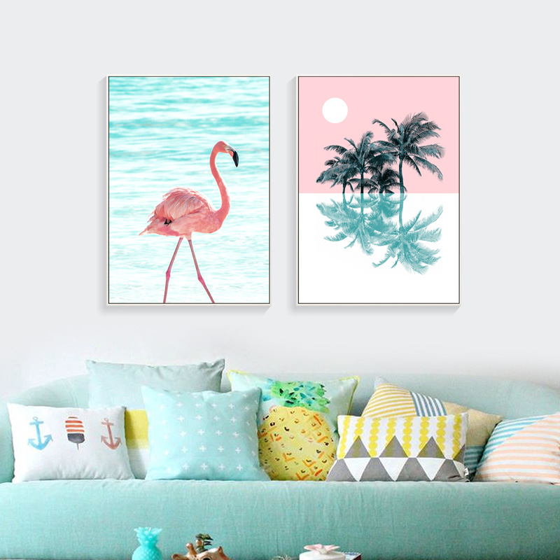 Pink Flamingo Canvas Prints Postere și ilustrații nordice Picturi pe panza Art Cuadros Decoracion Wall Art Poster Painting Unframed