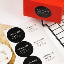 100 шт./лот 4 см ручной работы с круглой печатью наклейки бумаги клей наклейки для домашнее хлебобулочные и подарочная упаковка