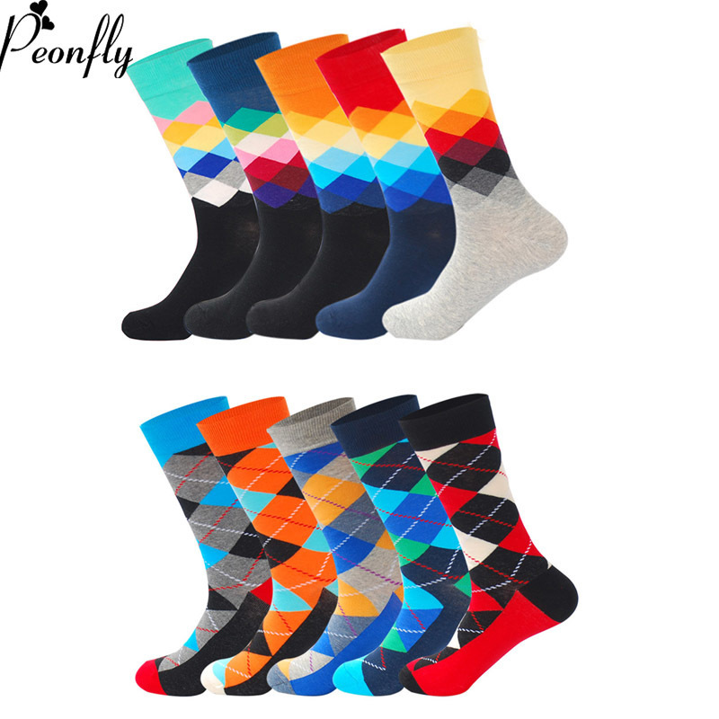 PEONFLY 10pairs/lot Mens Funny Happy Socks Fine Paragraph Diamond Patterne Tube Geometric Funny Combed Cotton Socks