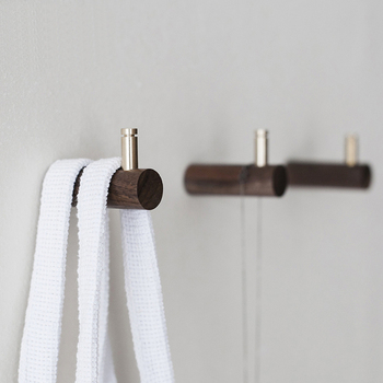 Natural Wood brass Hanger Wall Mounted Coat Hook Decorative Key Holder Hat Scarf Handbag Storage Hanger Bathroom Rack
