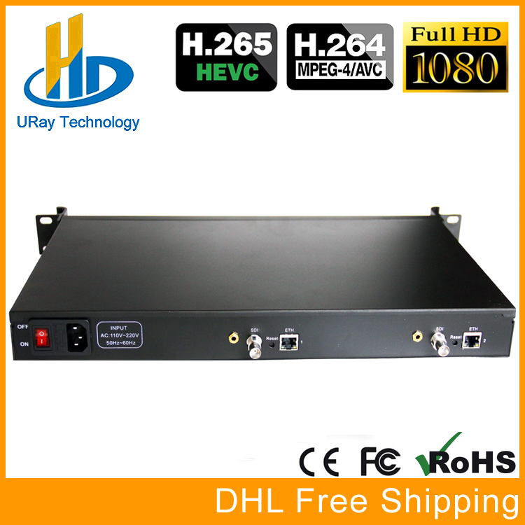 1U Rack HEVC H.265 SD HD 3G SDI To IP HD Video Encoder IPTV Encoder 2 Channels Live Streaming RTMP Encoder SDI To H.264 H.265 uray 4 channels hevc h265 hd sdi 3g sdi iptv encoder streaming sdi to ip encoder server udp multicast sdi encoder hardware h264