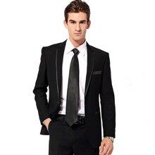 Custom Made Mens Suits Groomsmen Notch Lapel Groom Tuxedos Black Wedding Best Man Suit (Jacket+Pants+Tie+Hankerchief) A15