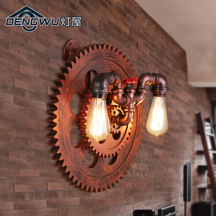 2 heads american country loft style personality creative iron water pipe restaurant wall lamp coffee shop lamp free shipping american country loft style