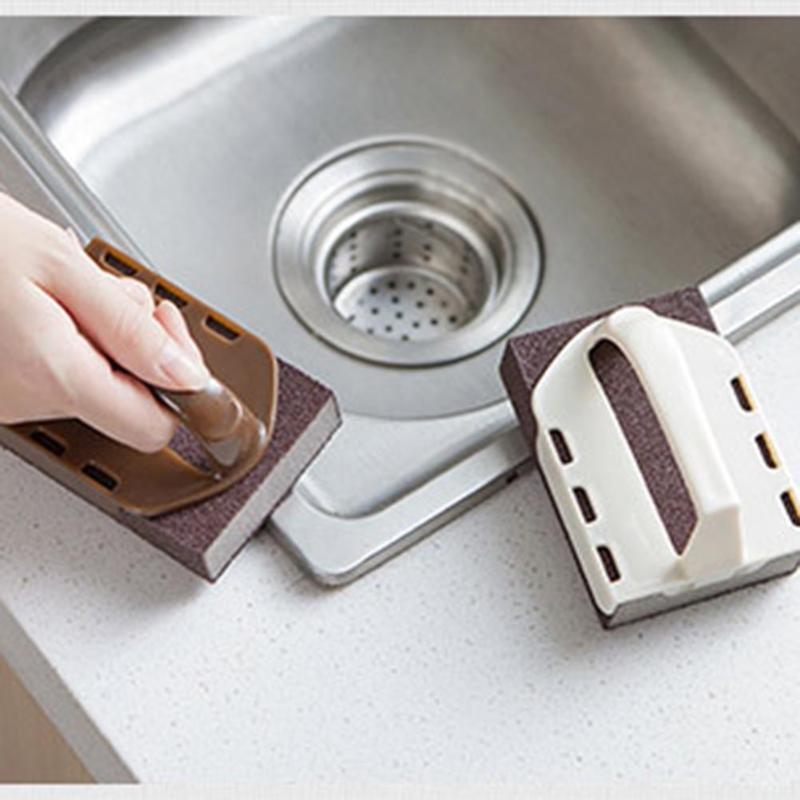 1 шт. 2 в 1 Эмери щетка для очистки и Ножи точилка Кухня горшок для удаления накипи ржавчины губка руб Ванная комната очистки кисть