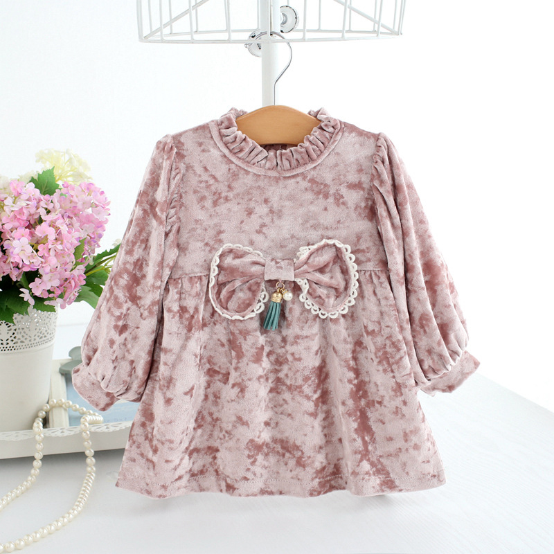 Baby Girl Dress Pink Velvet Dresses with Bow Toddler Girl Bishop Sleeve Dress Christmas New Year Festive Clothes A014 Vestidos все цены
