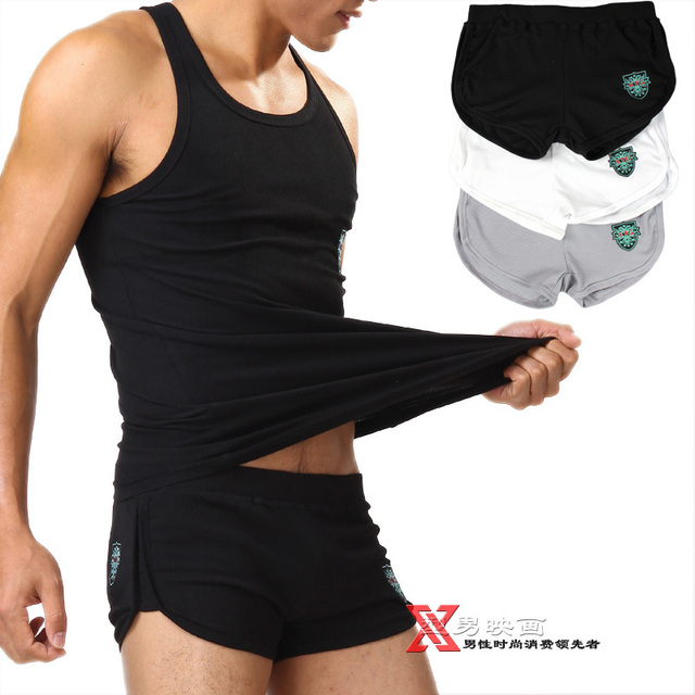 Free shiping,(3pcs/lot), Cotton thread male home male sports shorts aqux