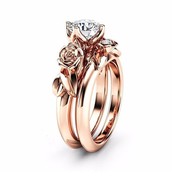 2pcs Wedding Engagement Ring For Women Rose Gold Color Cubic Zirconia Jewelry Wedding Ring Set Jewelry Dropship