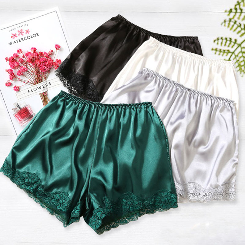 2018 Plus Size Satin Kitten Silky Elastic Waist Women Men Home Sleep Tracksuit Bottom Short Pants Pajama Nightwear Shorts