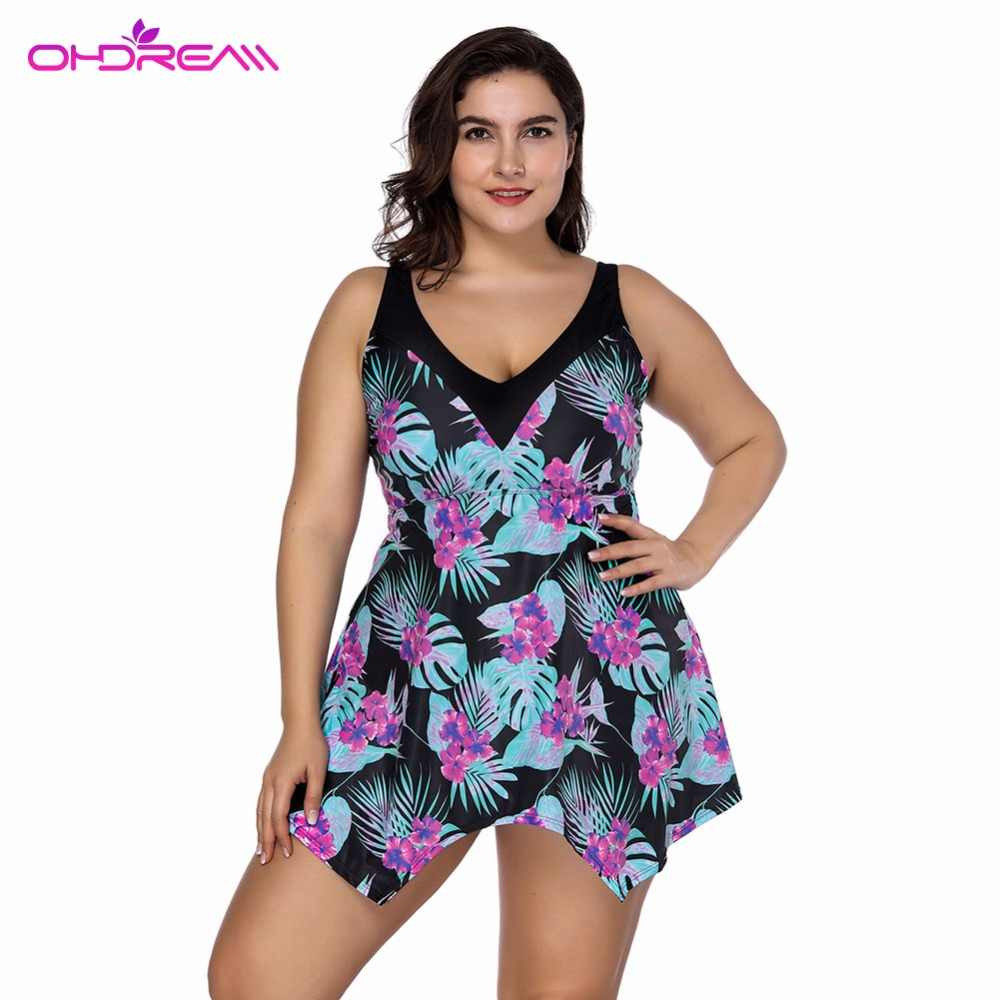 6dfc1fed4724f OHDREAM Swimming Skirt Women Plus Size Two Piece Beach Wear Dress Large Bathing  Suit Mujer Verano