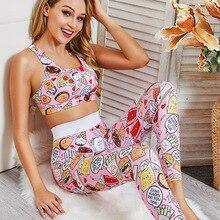 Women 2 Piece Yoga Set Gym Fitness Clothes Floral Print Bra+Long Pants Running Tights Jogging Workout Yoga Leggings Sport suit цена