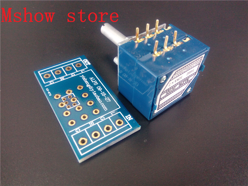 Mshow Japan ALPS Volume control 27 type Dual potentiometer 10K 50k 100K RK27 Round shaft With adapter PCB 1pc 10k 20k 50k 100k 250k 500k japan alps rk27 double stereo potentiometer 10 500kax2 knurled shaft rk27 rotary switch 6pin