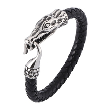 Punk Silver Male stainless steel Easy-Hook Leather Bracelets Men Jewelry Black Brown Braid Bracelet Charms Bangle Gift BB0390