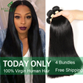 Peruvian Virgin Hair Straight 4 Bundles 7A Unprocessed Virgin Hair Straight Human Hair Weave Soft Peruvian Straight Virgin Hair