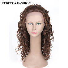 Rebecca Remy Long Curly Human Hair Lace Front  Wigs For Black Women Fashion Curly Hair Black Brown 13×4 Lace Frontal Wigs
