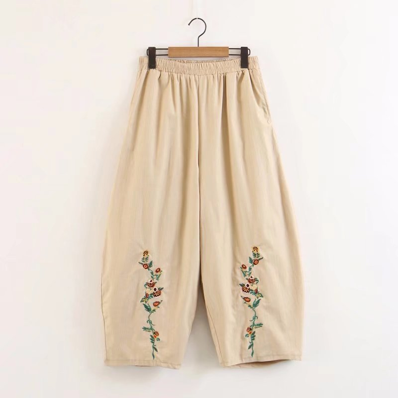 2018 New Autumn Women Loose Cotton Linen Trouser Casual Elastic Waist Floral Embroidery  ...