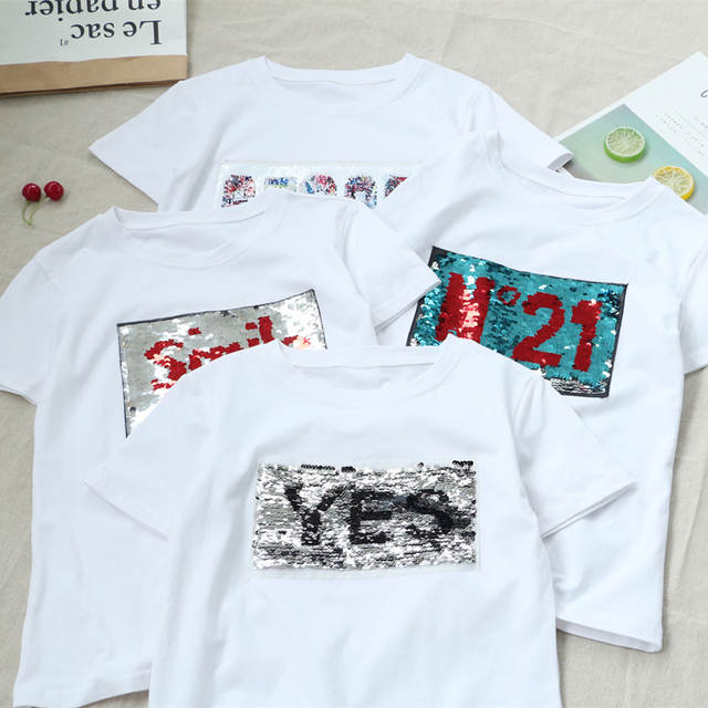 placeholder New Creative Graffiti Reversible Sequins Yes No Letters shirt  magical color change sequins Tees beads 8a660553676a
